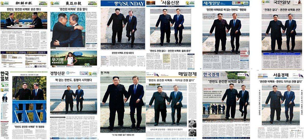 文金會後,翌日南韓各大報紙的頭版頭條。 圖/作者楊虔豪整理