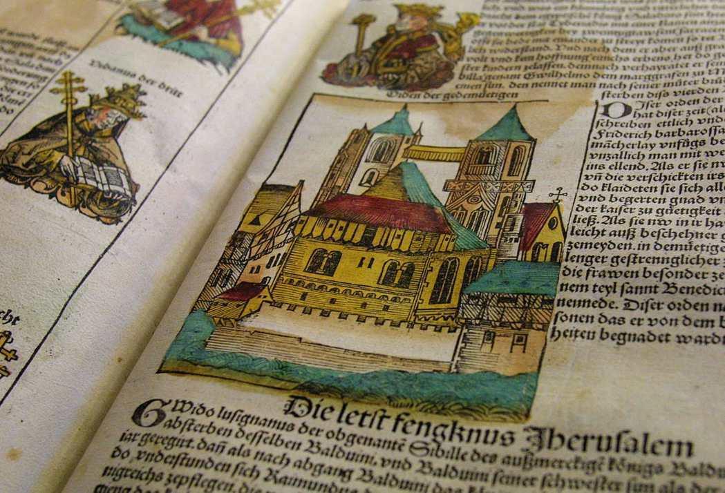《紐倫堡編年史》收錄多幅以歷史事件為主題的單張版畫,顯然更加重視時間軸的圖像化。...