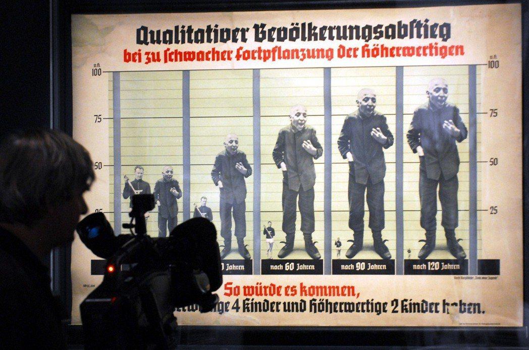「為什麼應該刪減社福支出?因為適者生存、不適者淘汰。」圖為納粹德國的優生學宣傳海...
