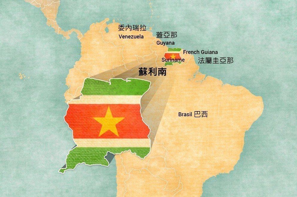 蘇利南地圖(中文為後製說明)。 圖/Staatsolie Suriname Of...