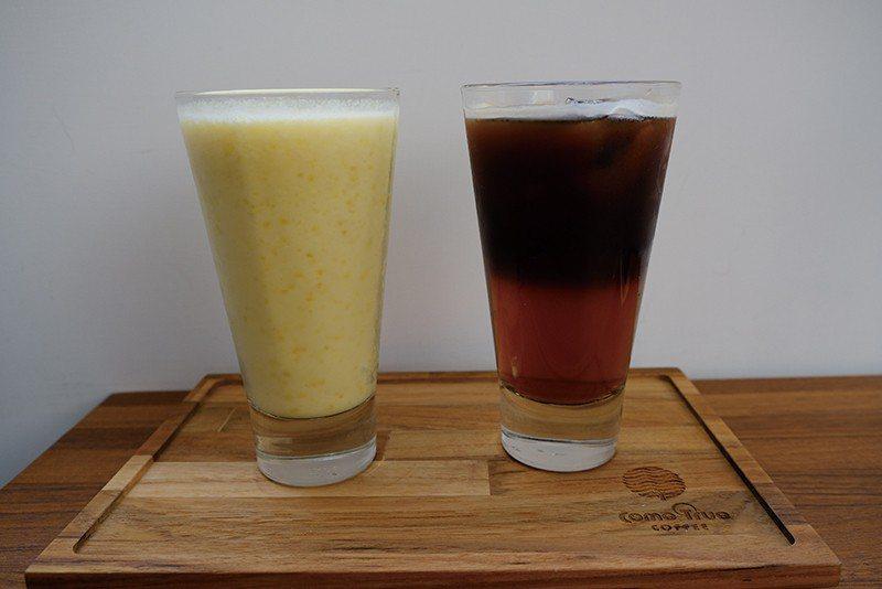 冬瓜美式咖啡(台南限定)120元(右)/以在地古早味茶飲冬瓜茶結合咖啡,喝來清爽...