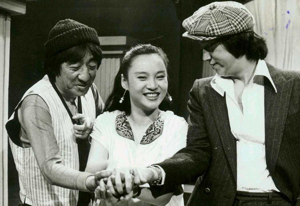 1980年時的陶大偉(右起)夏玲玲、孫越三人。圖/聯合報系資料照
