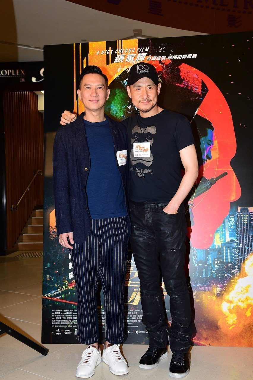 張學友(右)為張家輝導演新片「低壓槽」首映站台。圖/華映提供