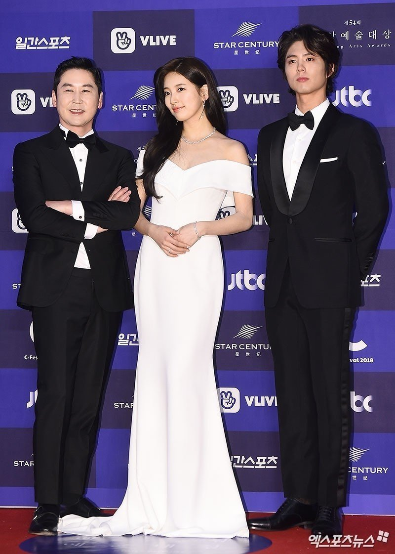 主持人左起申東燁、秀智、朴寶劍。圖/摘自xsportnews