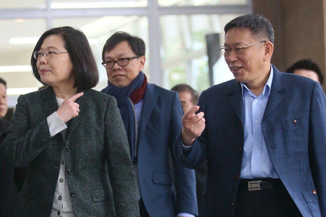 蔡英文和台北市長柯文哲在媒體上隔空交火,對彼此的「台灣價值」提出質疑。 圖/聯合...