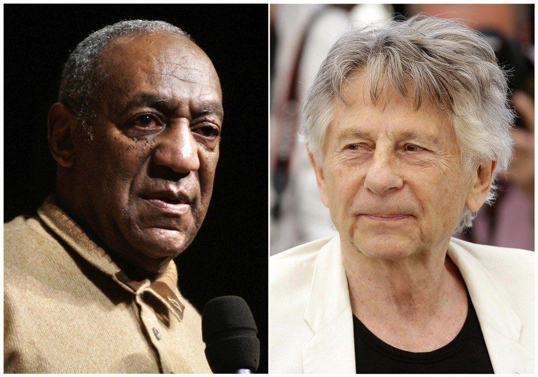 比爾寇斯比(左)和奧斯卡獎名導波蘭斯基(右)遭美國影藝學院開除會籍。 圖/美聯社