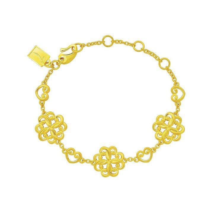 Just Gold「The Lady」女爵系列純金手鍊,50,800元。圖/鎮金...