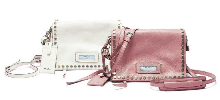 Prada Etiquette系列鉚釘裝飾肩背包,74,500元。圖/PRADA...