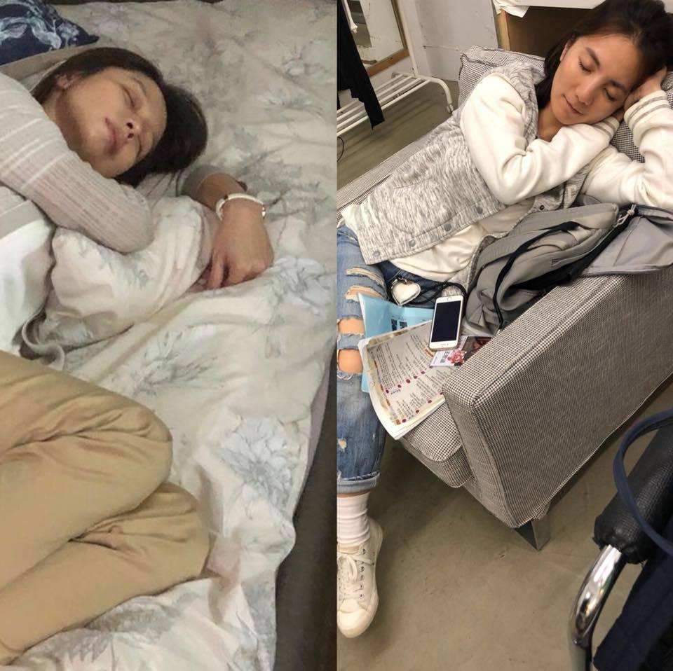徐若瑄(左)出賣經紀人王思涵(右)的甜美睡相。圖/摘自臉書