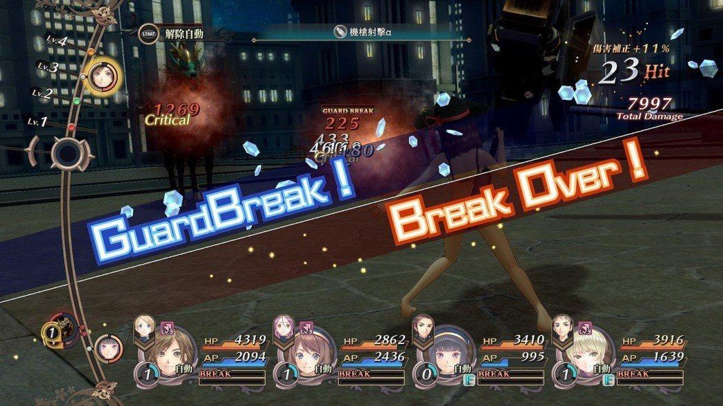 破除敵人護甲值將觸發 EX 攻擊,達成 Break Over 更能發動連繫技能。