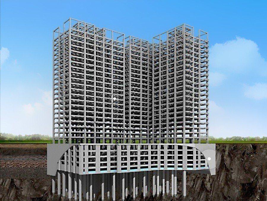 「合康雲極」制震系統 建造工程每柱基樁深入岩盤 2 米 圖/合康雲極 提供