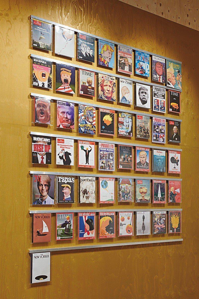 50本以川普圖像為封面的雜誌,包括《時代》、《紐約客》、《經濟學人》、德國《明鏡...