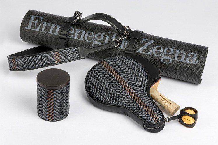 Ermenegildo Zegna Toyz系列瑜珈墊、桌球拍組,飾有駱馬色和白...