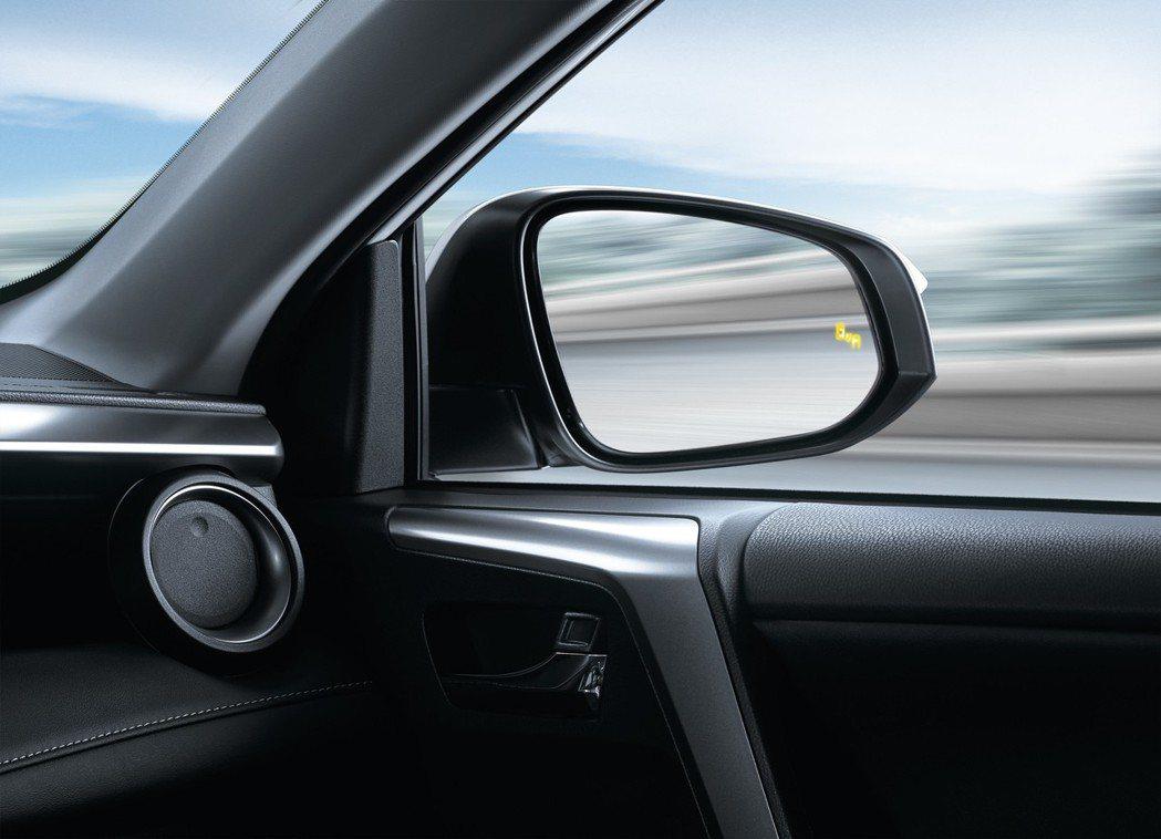 「BSM盲點偵測警示系統」大幅提升駕駛變換車道時的行車安全。 圖/和泰汽車提供