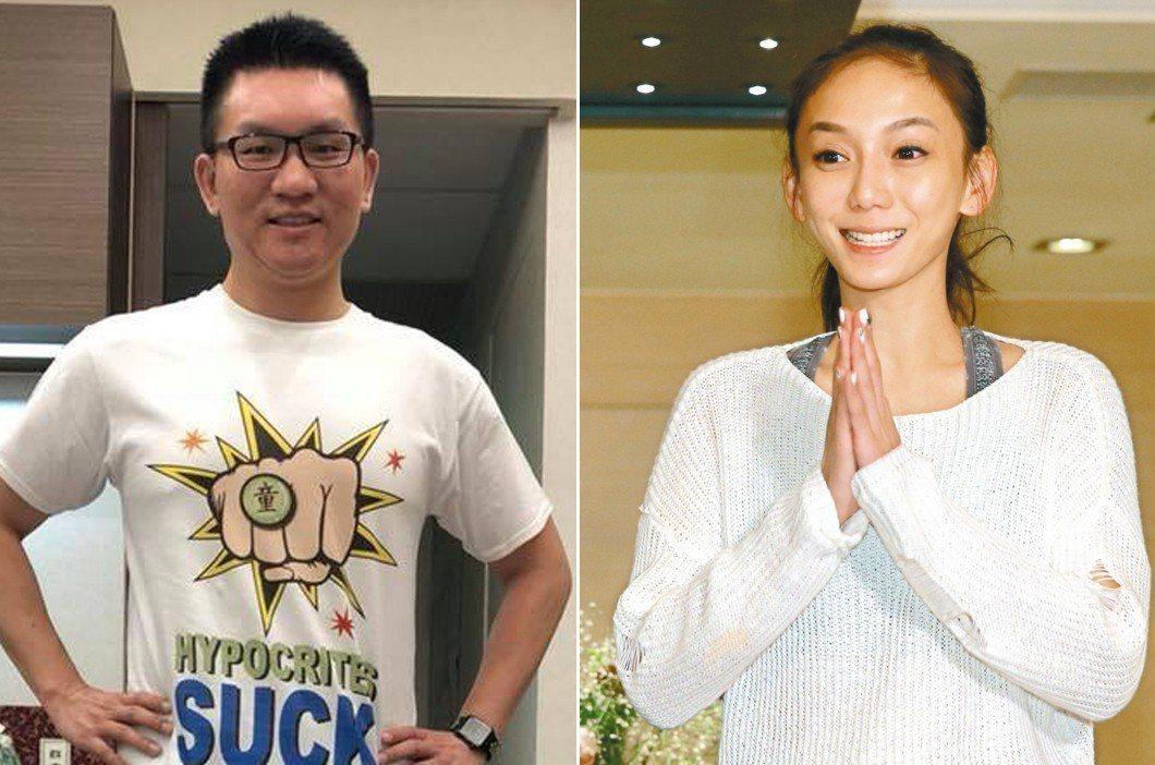 童仲彥(左)在臉書上PO文鼓勵劉喬安(右)「勇敢做自己」,並表示想送給她一件「拳...