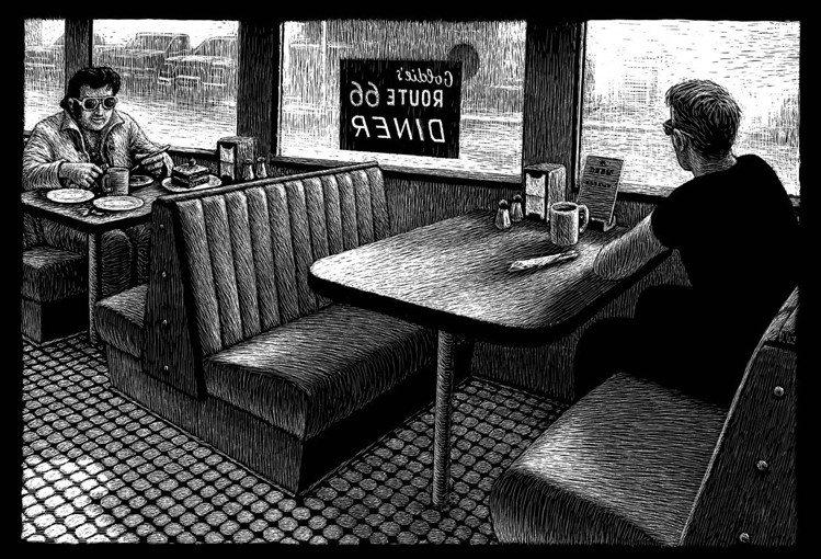 瑞士藝術家Thomas Ott親自橫越《66號公路》帶來黑白漫畫的遊記。圖/LV...