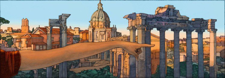美國插畫家Miles Hyman描繪的《羅馬》像精確的分鏡表。圖/LV提供