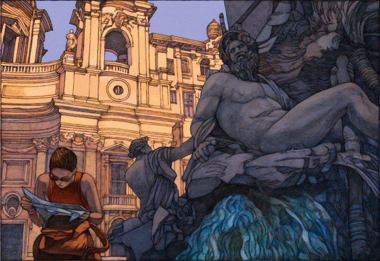 美國插畫家Miles Hyman繪出的《羅馬》著重構圖與敘事張力。圖/LV提供