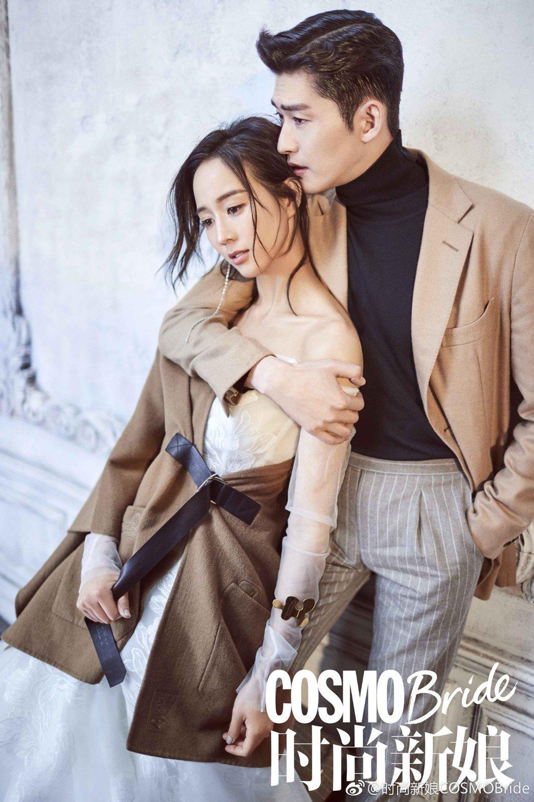 張鈞甯與張翰拍攝婚紗互動自然,甜翻粉絲。圖/摘自微博