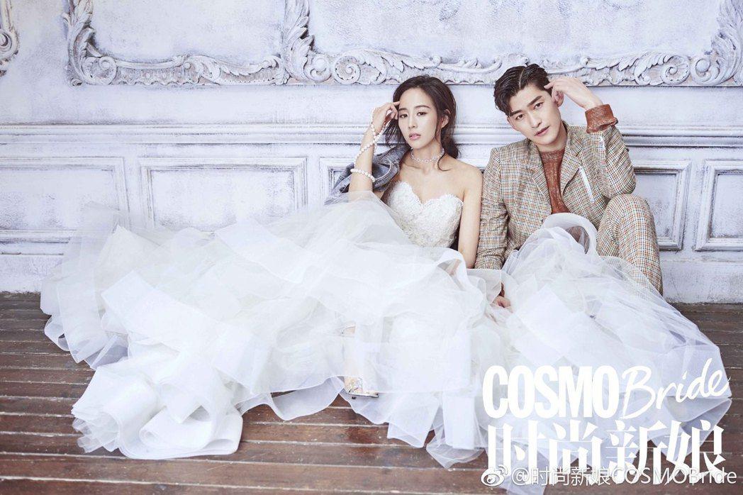 「衛星夫婦」張鈞甯與張翰的婚紗照,讓粉絲敲碗2人假戲真做。圖/摘自微博