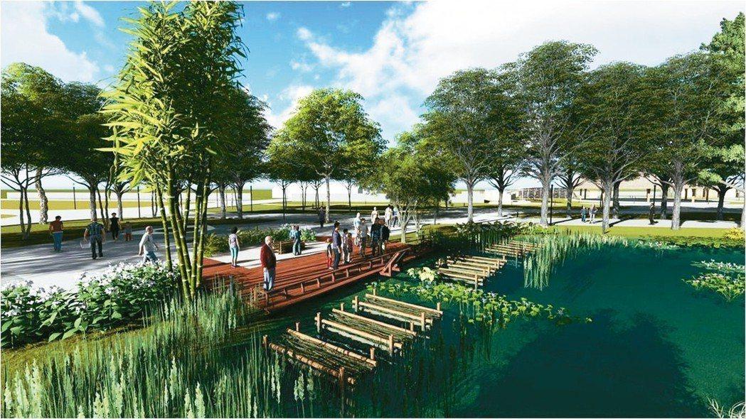 台中花博后里園區規劃打造水中花園,呈現原民傳統捕魚智慧工法(圖為模擬圖)。 圖/...