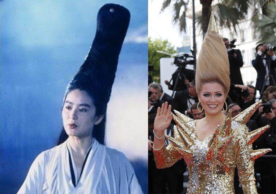 俄羅斯電視女主持人Elena Lenina的髮型宛如林青霞的「神龍教主」。圖/擷...