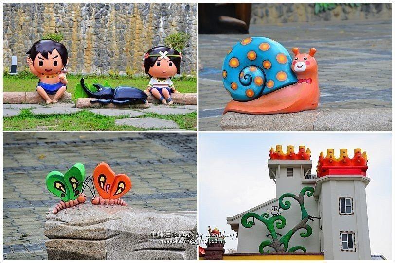 ↑游客中心四周罗列许多可爱或童话造型的装置艺术作品。
