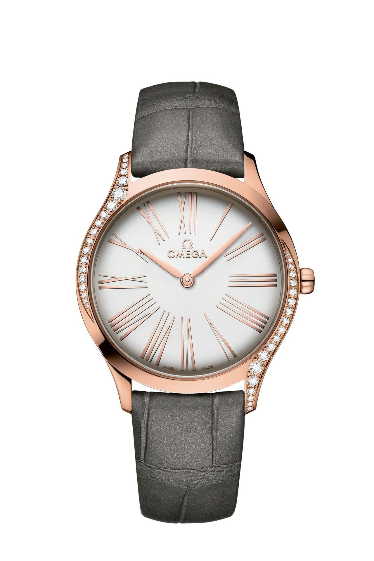 歐米茄碟飛系列Trésor腕表,18K Sedna金表殼鑲嵌鑽石,36毫米表徑,...