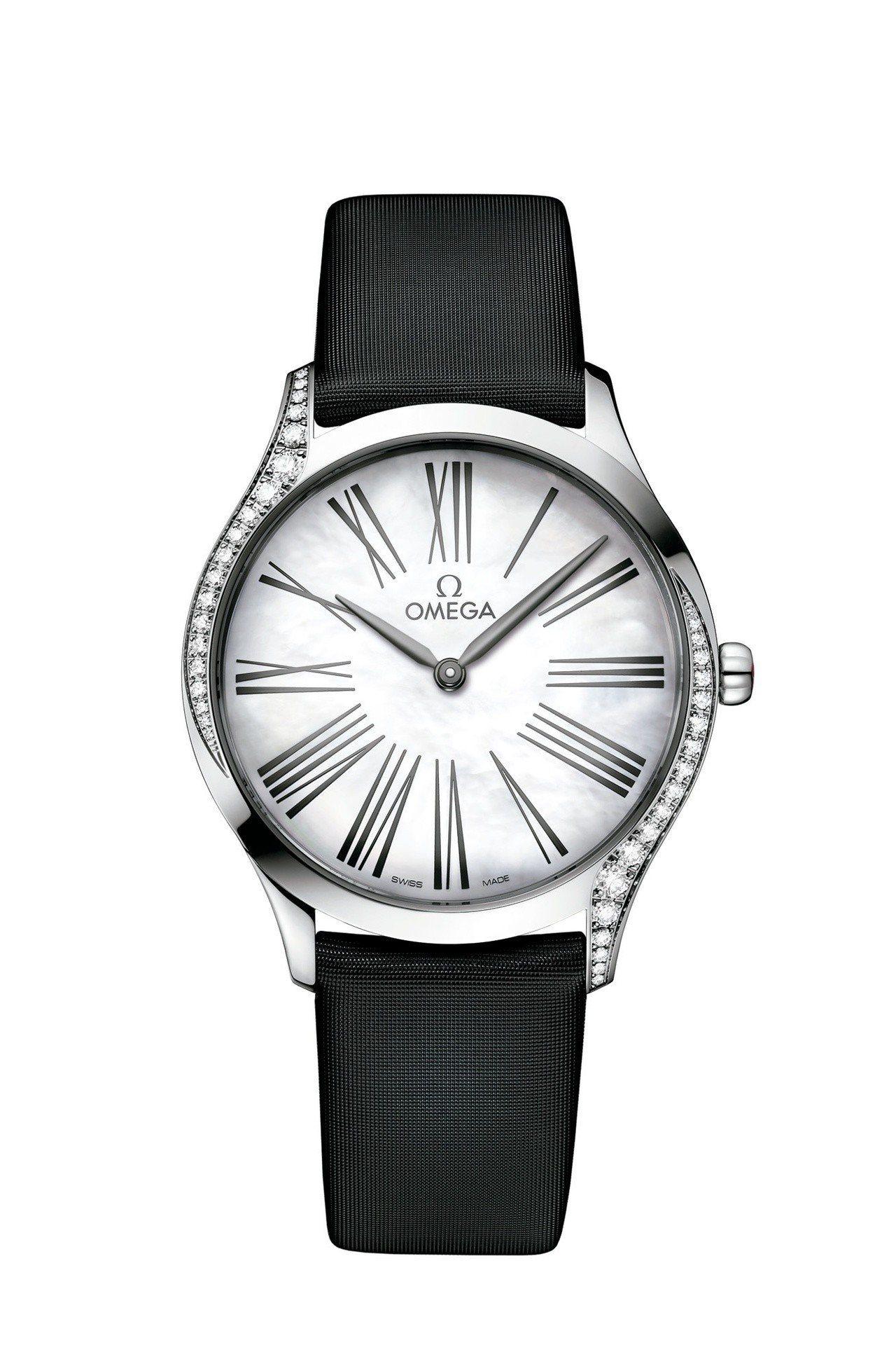 歐米茄碟飛系列Trésor腕表,不鏽鋼表殼鑲嵌鑽石,珍珠母貝表盤,約16萬2,5...