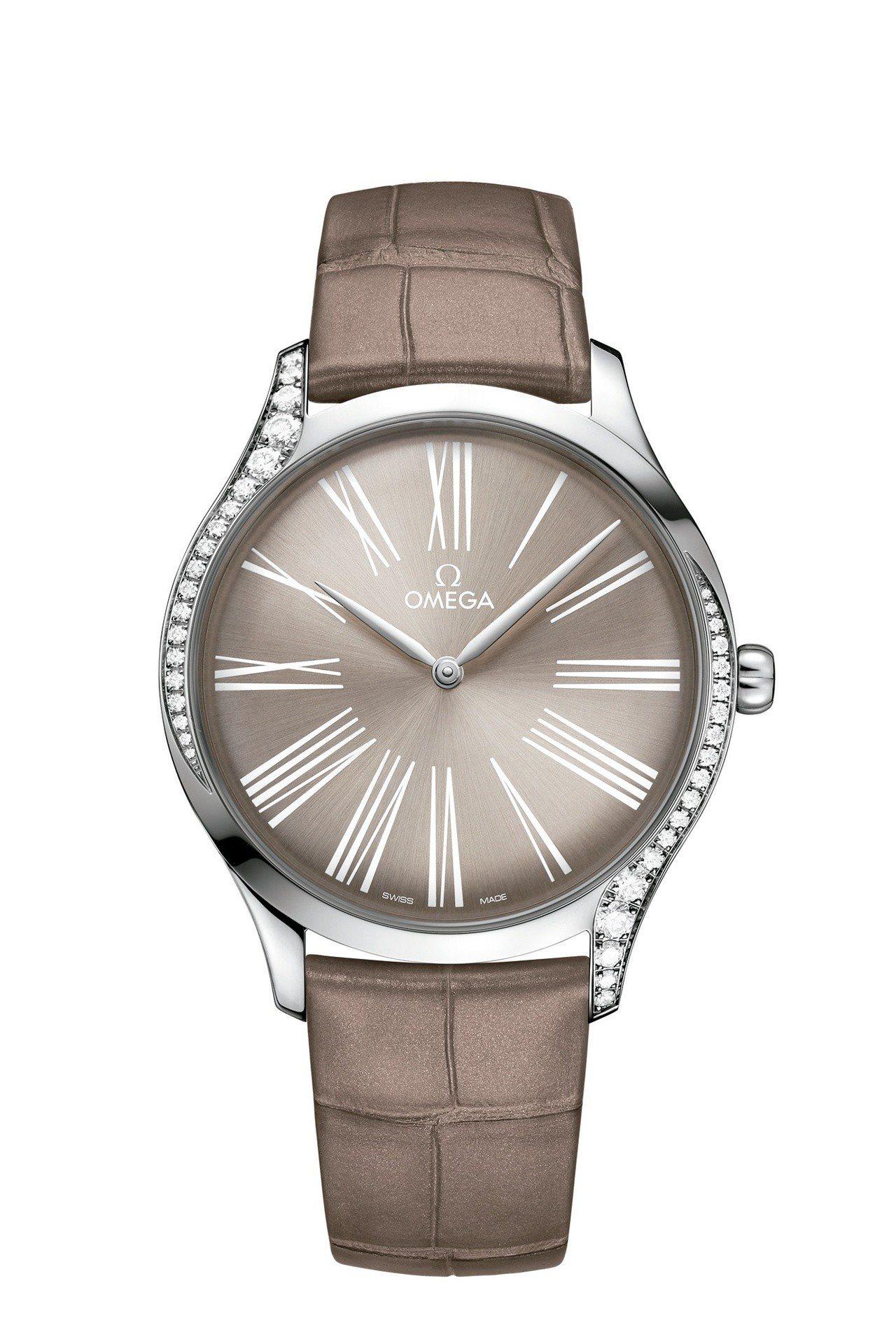歐米茄碟飛系列Trésor腕表,不鏽鋼表殼表殼鑲嵌鑽石,39毫米表徑,約16萬6...