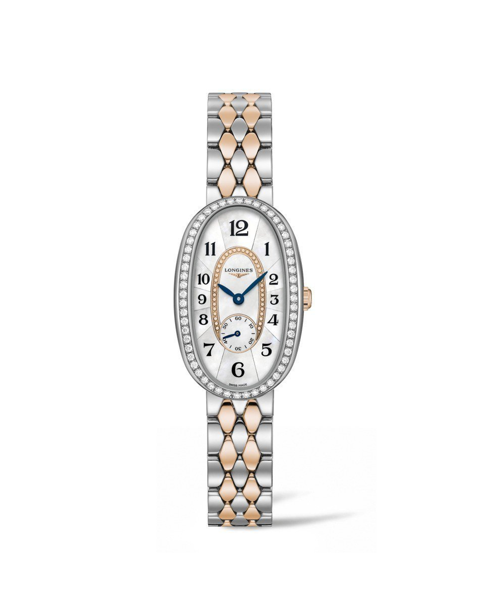 浪琴圓舞曲系列腕表,不鏽鋼表圈鑲嵌鑽石,珍珠母貝表盤,約14萬8,700元。圖/...