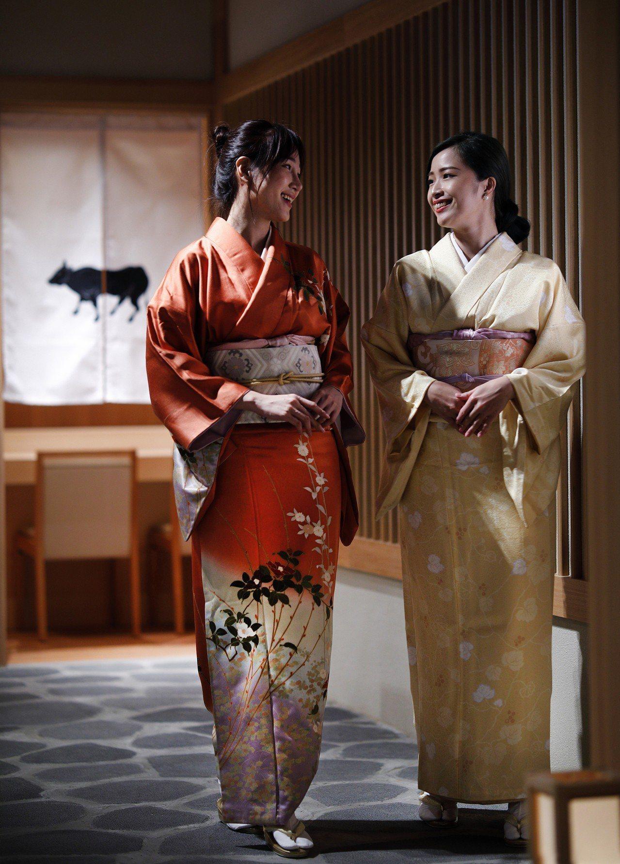 樂軒松阪亭包廂女性客人可預約體驗一件逾十萬台幣的日本正絹和服。圖/新光三越提供