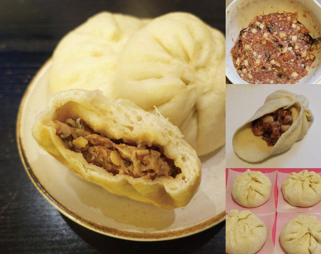 自製的香菇筍肉包,餡料擠點甜辣醬更添美味。圖/太陽臉