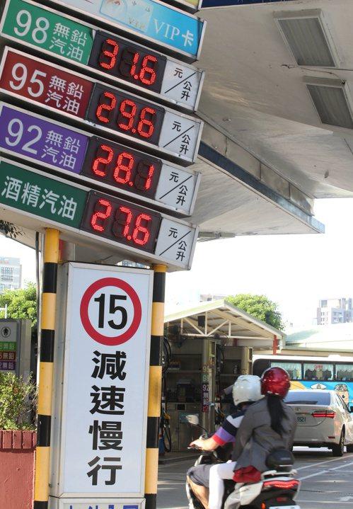 14日凌晨零時起,國內汽、柴油價格每公升估調漲0.5元,95無鉛汽油將漲破30元...