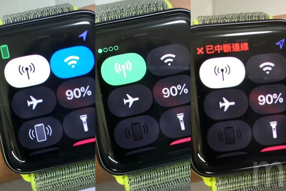 由左至右:透過藍牙與iPhone連線,並且開啟Wi-Fi連接;關閉藍牙、Wi-F...