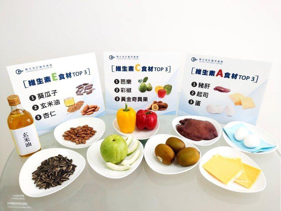 一般人缺乏的維生素E、C、A,應該從天然食品攝取營養素。圖/聯安診所提供