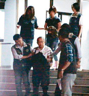 台灣民政府秘書長林志昇(前中)、林妻林梓安(後中),今天被桃園地檢署聲請羈押。 ...