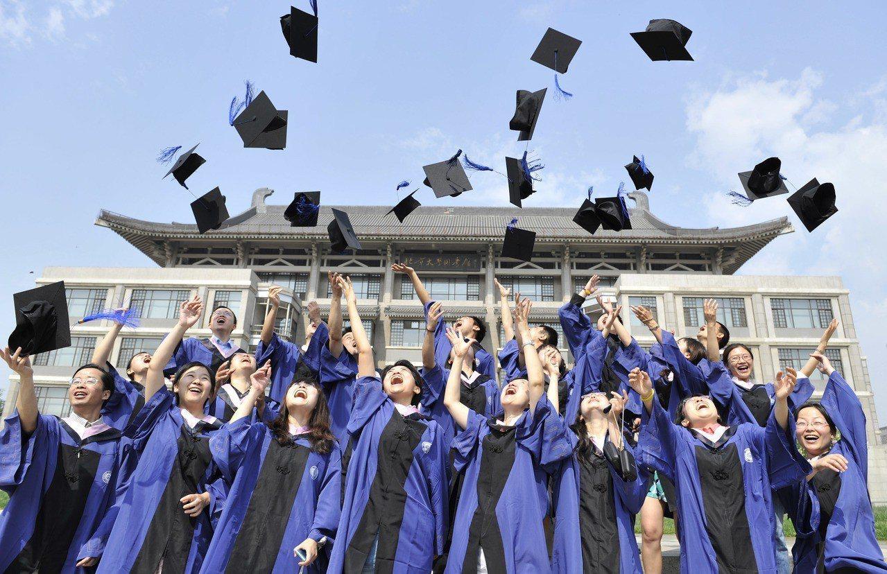 北京大學新聞與傳播學院的應屆碩士畢業生在圖書館前高高拋起學位帽,慶祝畢業。 ...