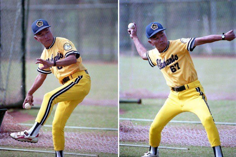 1990年,職棒明星隊前往龍潭兄弟棒球場,展開迎戰日本巨人職棒的賽前集訓。圖為曾...