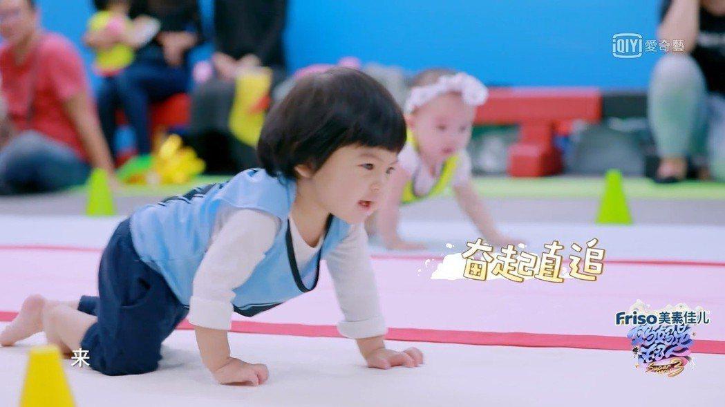Bo妞參加寶寶爬行大賽。圖/截圖自愛奇藝