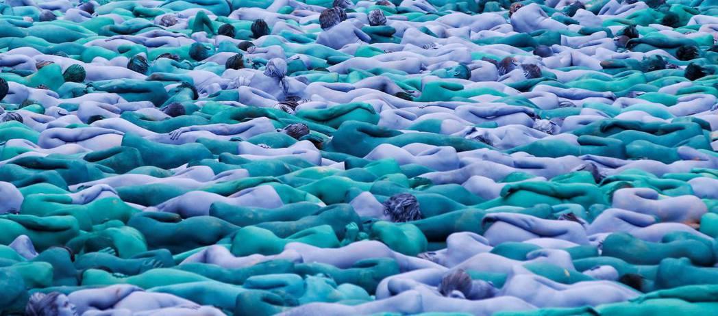 Spencer Tunick 裸體藝術。 圖/路透社