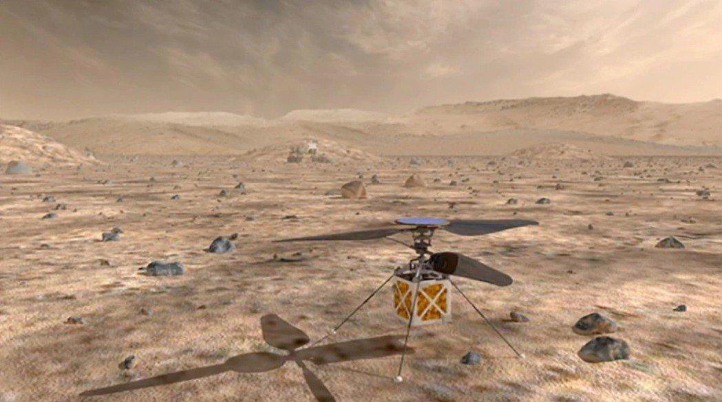 美國太空總署將派直升機到火星,首次讓比大氣重的飛行器在另一個星球飛行。取自NAS...