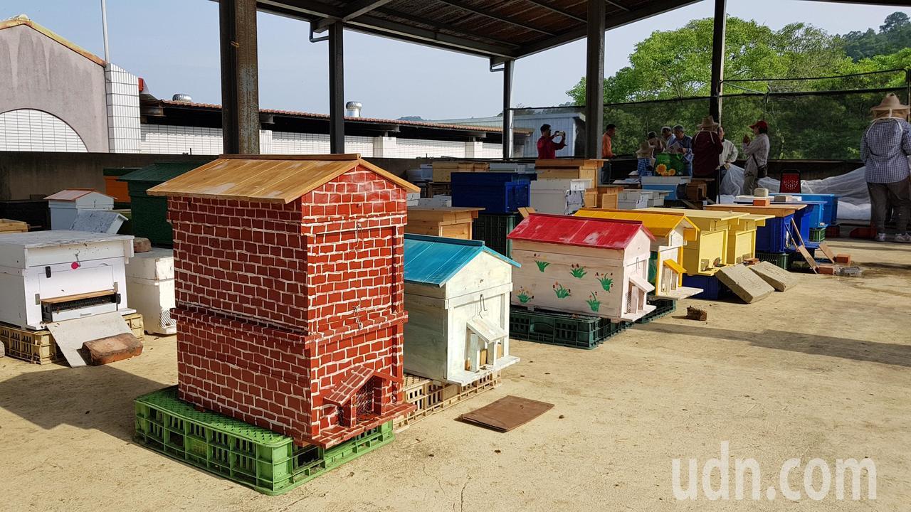 頭屋鄉明德社區養蜂班志工打造屋型蜂箱,加上彩繪饒富特色。記者黃瑞典/攝影