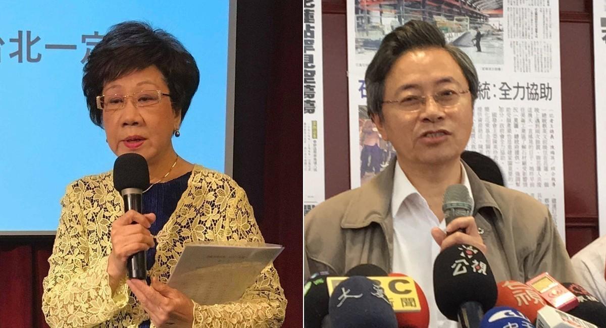 前副總統呂秀蓮(左)與前行政院長張善政。 聯合報資料照片