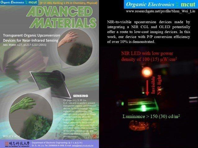 明志科大有機電子中心研究成果登刊於國際頂尖期刊(Adv. Mater.)封面。 ...