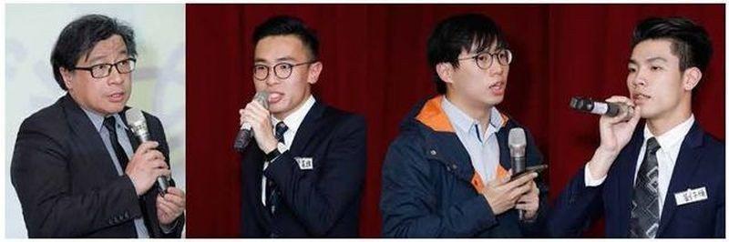 由左至右: 中央研究院副研究員吳叡人、香港大學學生會時事委員會署理主席梁晃維、前...