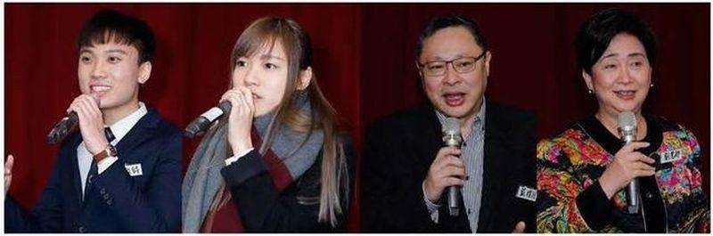 由左至右:前香港大學生會會長黃政鍀、被取消議員資格的香港立法會議員游蕙禎、香港占...