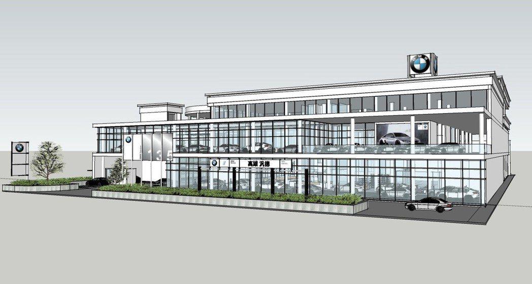 即將於2019年第四季完工的「BMW高雄汎德新生5S全功能展示中心」。 圖/汎德提供