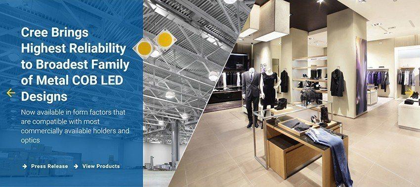 科銳LED照明系統和光源服務於室內和戶外照明應用。 科銳公司/提供