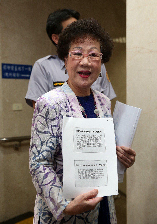馬英九市長任內被控賤賣台北銀行、圖利富邦金控案,前副總統呂秀蓮出庭直指北富銀案有...